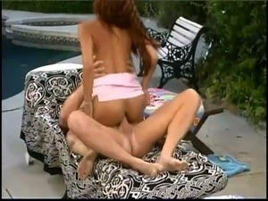 Yummy Latina redhead Aliyah Likit had stout ass fuck with white stud by the pool