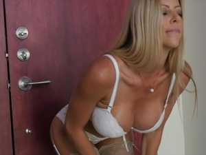 Gorgeous blonde MILF with fake big boobs likes steamy fucking