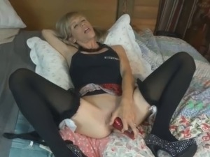 Pigtailed blonde is horny as fuck and she really loves her new rabbit vibrator