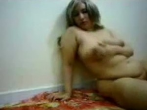 Horny and fat Arab cougar filming herself on webcam