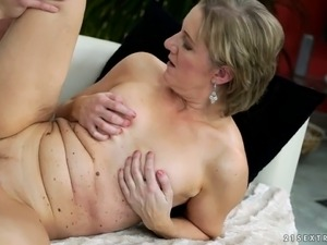 Lustful cougar riding hard dick in a cowgirl position