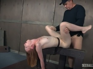 Mistress and master fuck tied up red haired slut Katy Kiss