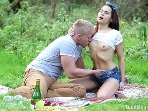 Nature loving drunkard cowgirl fucked hardcore in forest