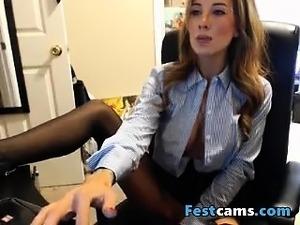 Naughty secretary big tits playing with dildo