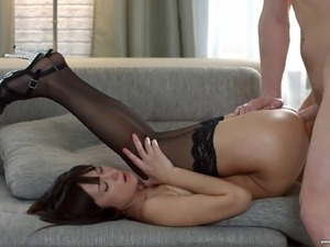 Stunning woman in stockings fucked hard up her petite anus