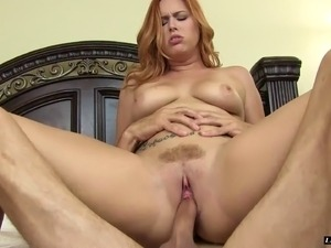 Redhead cougar in thong enjoying vibrator then pounded hardcore