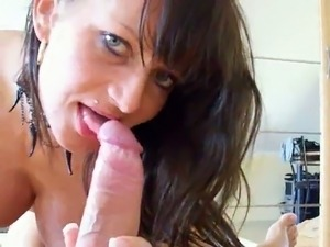 Brunette busty whorable wife provided my buddy with BJ and rode on top
