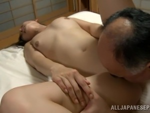 Japanese wife gets her coochie licked and fucked deep