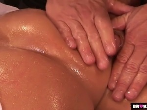 Oiled up MILF Kelly Divine doggy fucked brutally by horny masseur