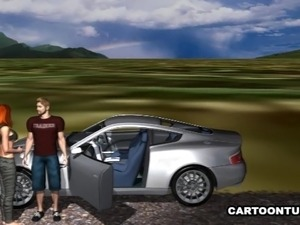 Sexy 3D redhead getting fucked on the hood of a car