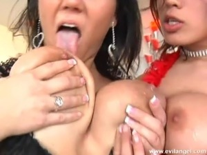 Extraordinary ffm bang scene with naughty porn hotties in action