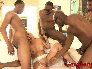 Busty lady enjoyed big black cocks in her tight holes