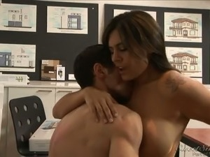Bootylicious Latina office whore with big boobs fucks at workplace