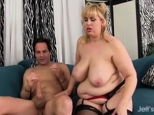 Chunky blonde in black stockings has a raging shaft invading her ass