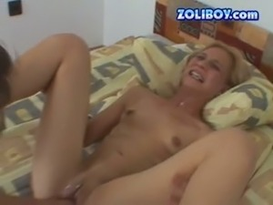 Hilarious spoiled blond head with small tits sucks a cock after being fisted