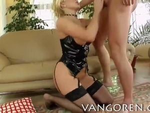 hot blonde slut in latex lingerie eating cum after sex