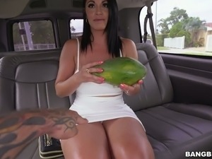 Desirable brunette bombshell Cristal Caraballo nailed in fuck truck brutally