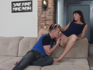 Butt sex session with a cute brunette who cannot resist a fat boner