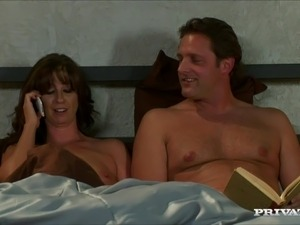 Brown-haired milf Trina Cox sucks a cock in story sex video