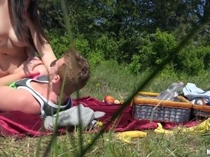 Buxom Nekane screwed brutally in a doggy position outdoor