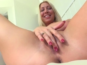 Blonde fisting her cock-hungry pussy that is now extremely big
