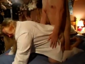 Horny grandpa fucking his lover in a doggy position