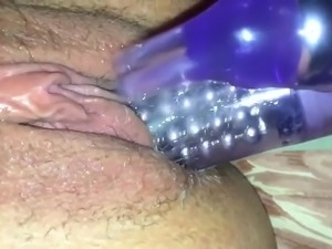Purple vibrator made my hmong pussy cum