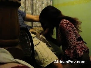 African amateur blowjob white cock doggy style
