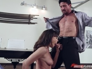 Skirt and blouse beauty Dana DeArmond fucked on a conference table