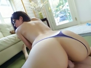Big assed brunette bitch in glasses gets her kitty banged in doggy and...