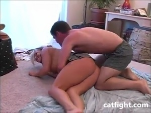 Big Boobed Sophie Face Sits a Male Figher on Catfight