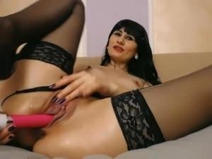 Gothic Long Stockings in bed masturbating