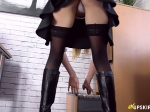 Sexy and hot blonde lady filmed upskirt in the office at work