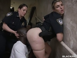 Black convict used by two white police women for butt sniffing and threesome