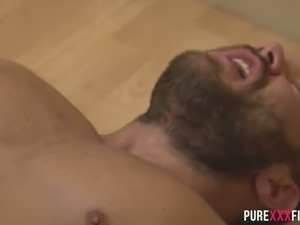 Extremely hot boobalicious MILF Jay Muscle sucks beefcake guy off at kitchen