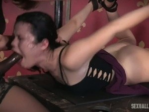Busty whore Dee Williams punishes young brunette with the help of strapon