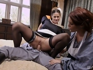 Buxom maid Cathy Heaven wants a threesome with her master and his wife