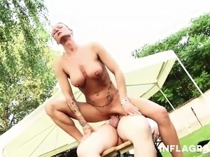 This busty German milf is looking for some action and