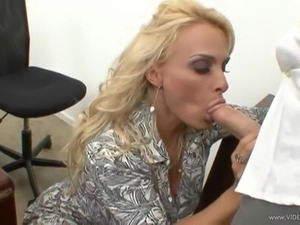 Busty milf Holly Halston gets a mouthful of cum after riding a cock