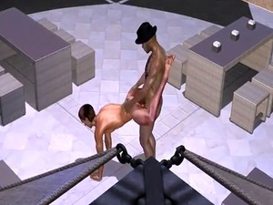 3D cartoon hunk getting rimmed and fucked hard on a rooftop