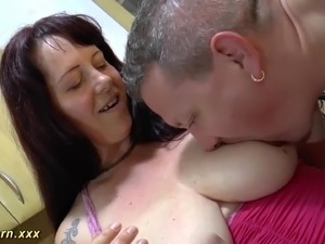 Extreme big natural breast bbw MILF loves deepthroat and gives a hot footjob