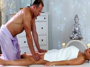 Busty blonde babe Nathaly riding masseur big dick