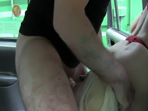 Lesbians amateurs anal banged in fake taxi