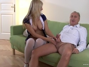 Sexy young lady takes old cock in her hot pussy
