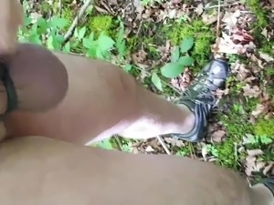 Mistress whipping my balls in the woods