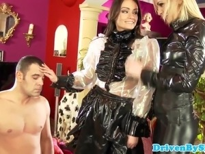 Femdom cfnm eurobabe blows submissive
