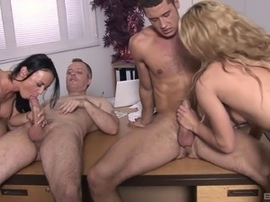 Hardcore group sex with these horny cougars Bobbi and Claudia