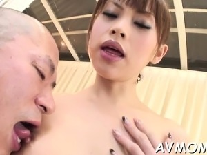 Mom with perky tits takes large shlong in mouth and eats cum