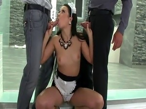 Throatfucked maid gets doublepenetrated