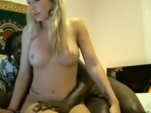 Blonde girl with sexy body plays with BBC lover
